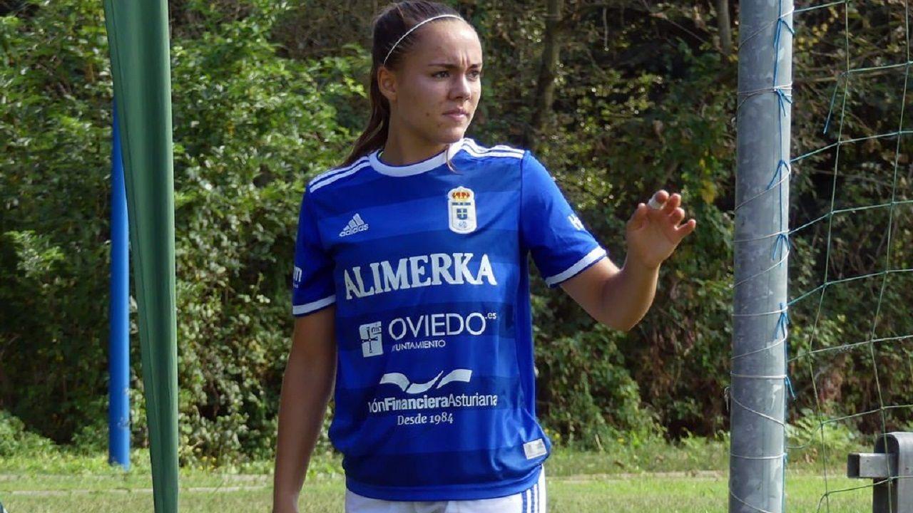 Laurina en un partido del Real Oviedo de la temporada 18/19