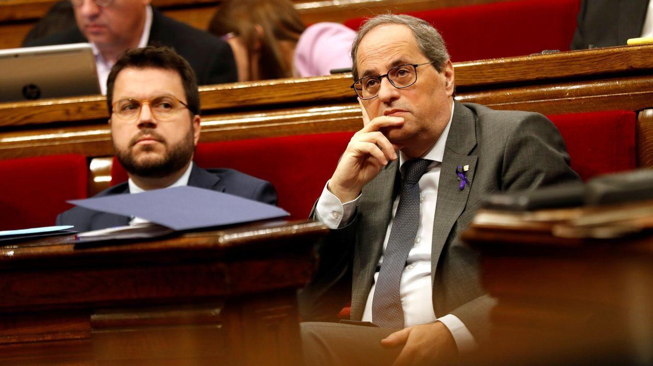 Quim Torra y Pere Aragonès, en el Parlamento catalán a principios de marzo