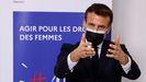 Emmanuel Macron, en un acto el lunes con motivo del 8M