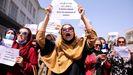 Mujeres afganas se manifiestan en Kabul para reclamar la preservación de sus derechos civiles, en una imagen de archivo