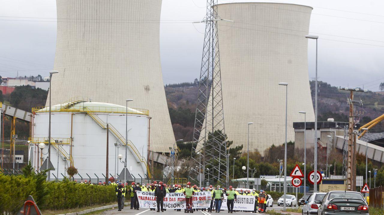 Movilización de la plantilla de Endesa en As Pontes por el posible cierre de la térmica de carbón