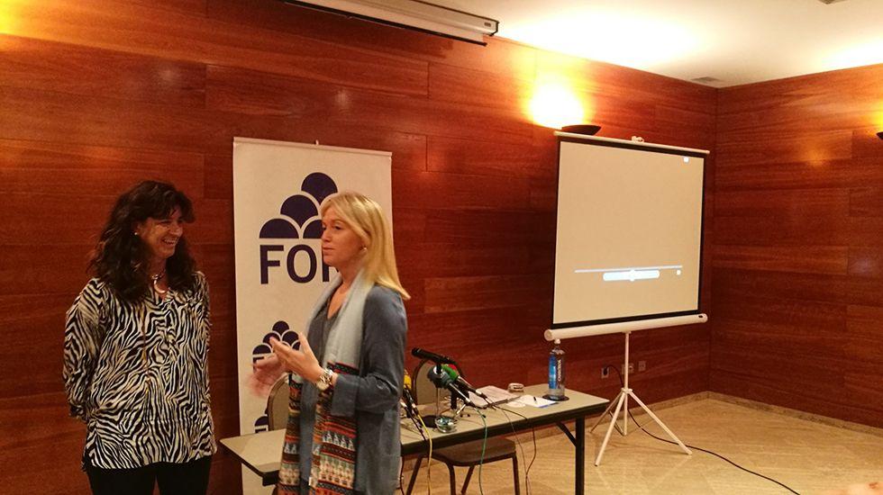 Los actos de la entrega de Medallas de Asturias.Cristina Coto y Carolina Morilla charlan antes del acto.