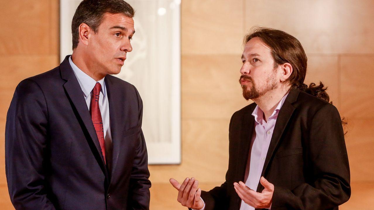 Pedro Sánchez y Pablo Iglesias antes de una reunión en Moncloa