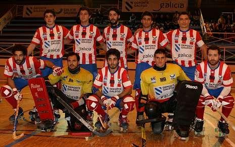Equipo de Patín Cerceda que derrotó el pasado martes al Vendrell en la OK Liga de hockey.