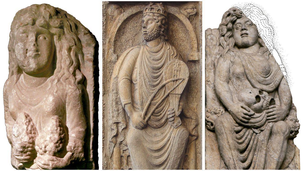 libros.O rei David da fachada de Praterías, con dúas representacións de Betsabé: a muller con acios de uvas e a viúva coa caveira de Urías
