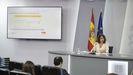La ministra de Hacienda, María Jesús Montero, durante la rueda de prensa de presentación de los Presupuestos del 2022