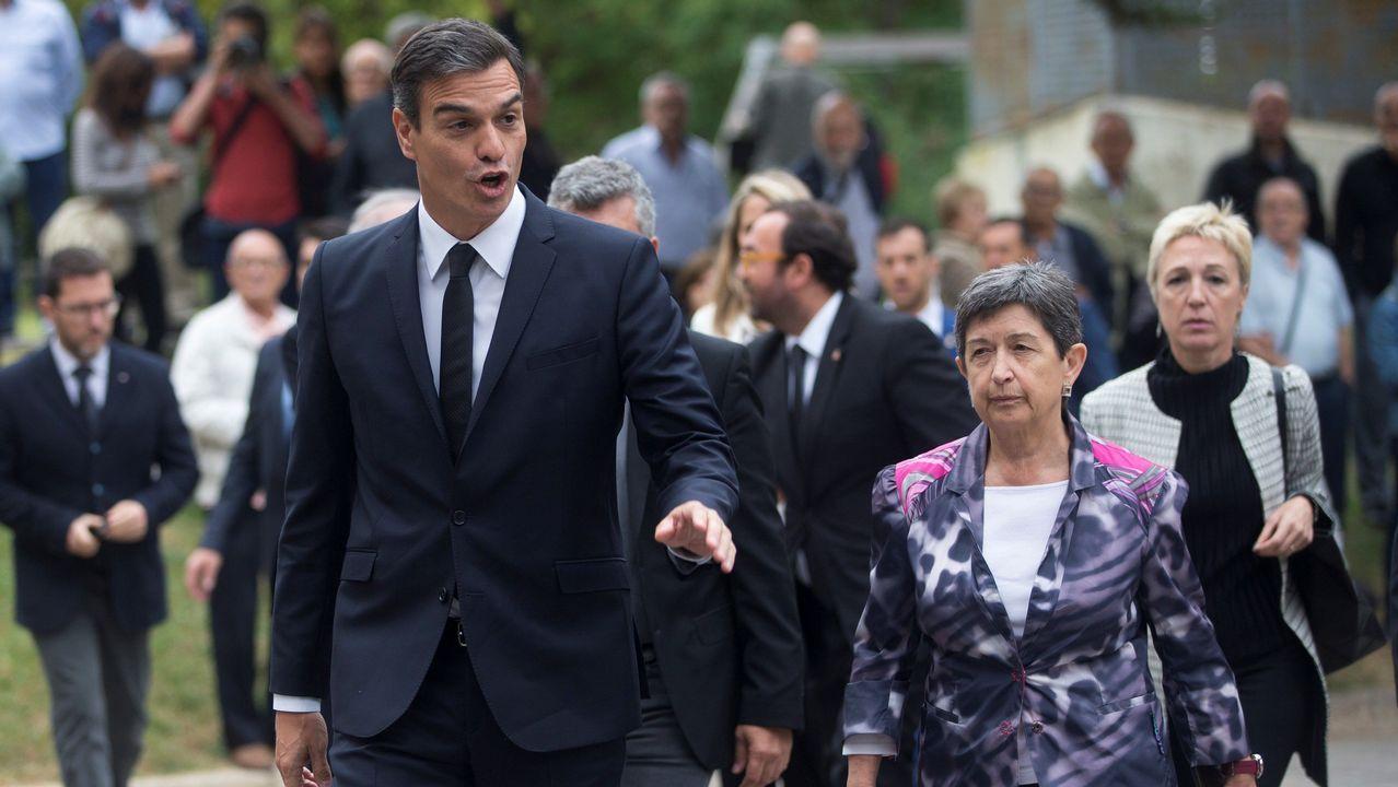 Funeral de Montserrat Caballé. Llegada de Pedro Sánchez junto a la delegada del Gobierno en Cataluña, Teresa Cunillera.