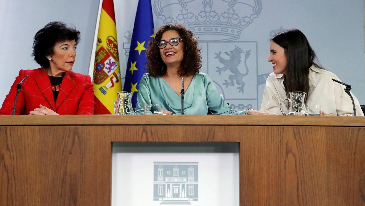 Celaá, María Jesús Montero e Irene Montero, tras el Consejo de Ministros del pasado viernes