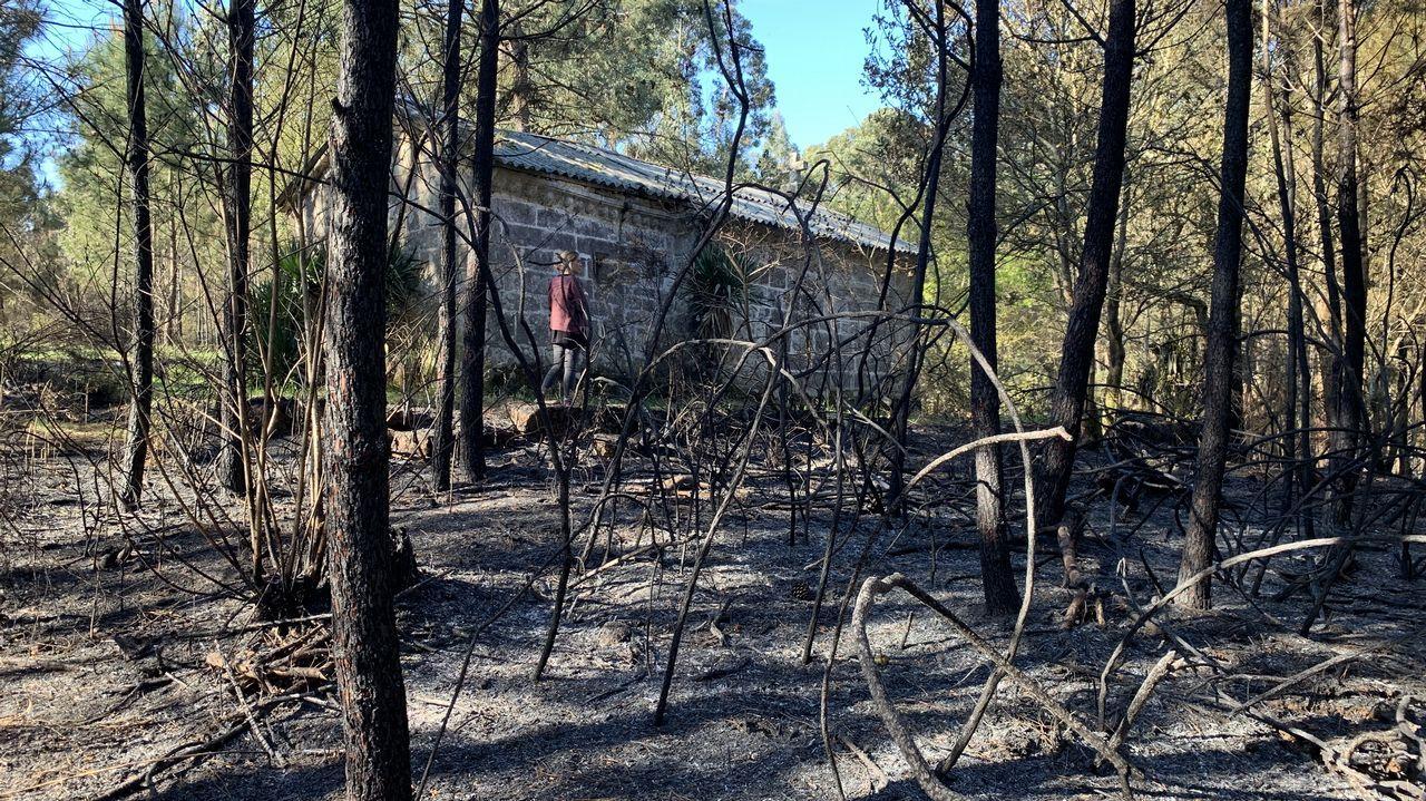 Dan por controlado el gran incendio de Rianxo 36 horas después de su inicio