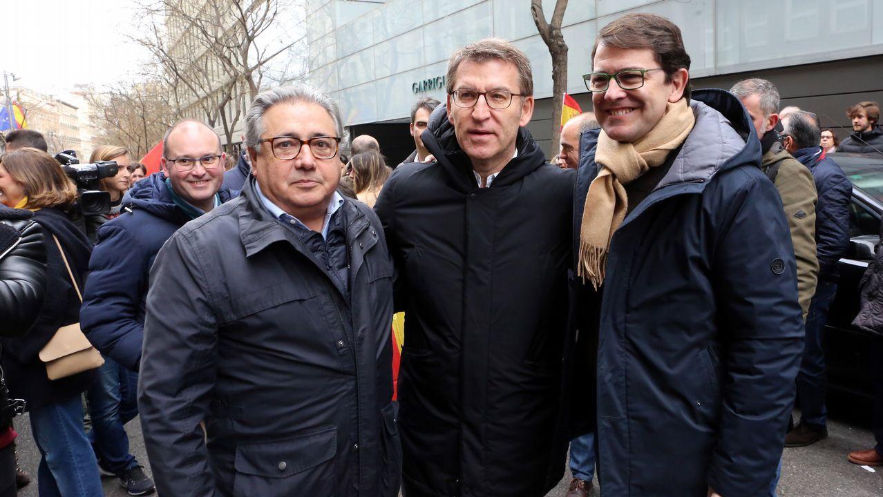 Feijoo, el domingo en la protesta contra Sánchez en Madrid