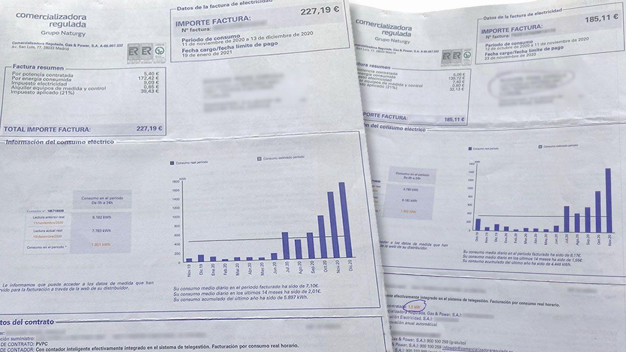 Una mujer en Barcelona pierde sus pertenencias tras sufrir un desahucio que no le correspondía.Estas son dos de las facturas de electricidad generadas en dos meses por los okupantes de la vivienda, de más de 400 euros en total