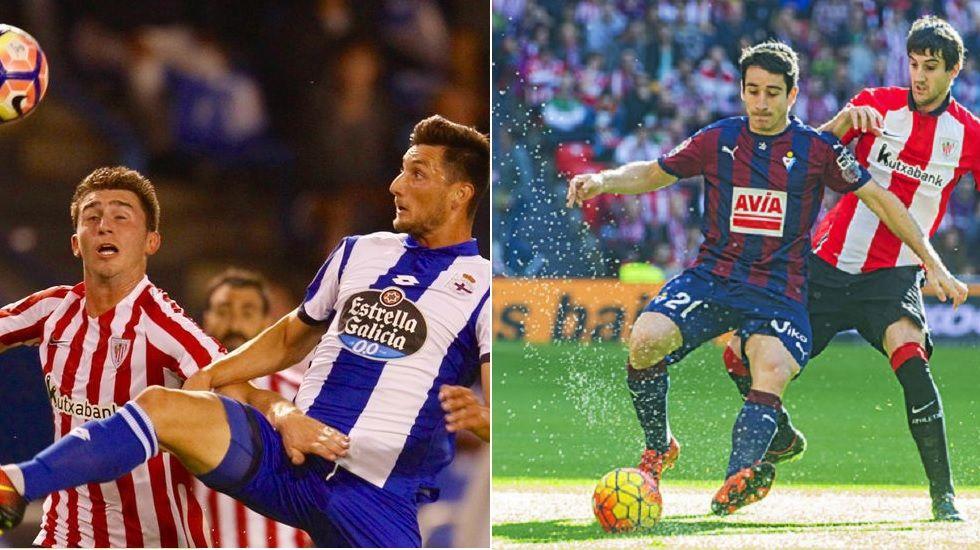 A la izquierda Borja Valle disputa un balón ante el Athletic. A la derecha, Saúl Berjón controla un balón ante el mismo equipo.
