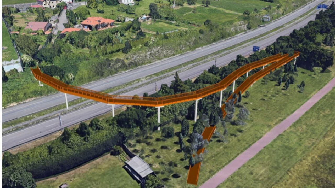 Radar de tráfico.Recreación de la pasarela de Nuevo Roces