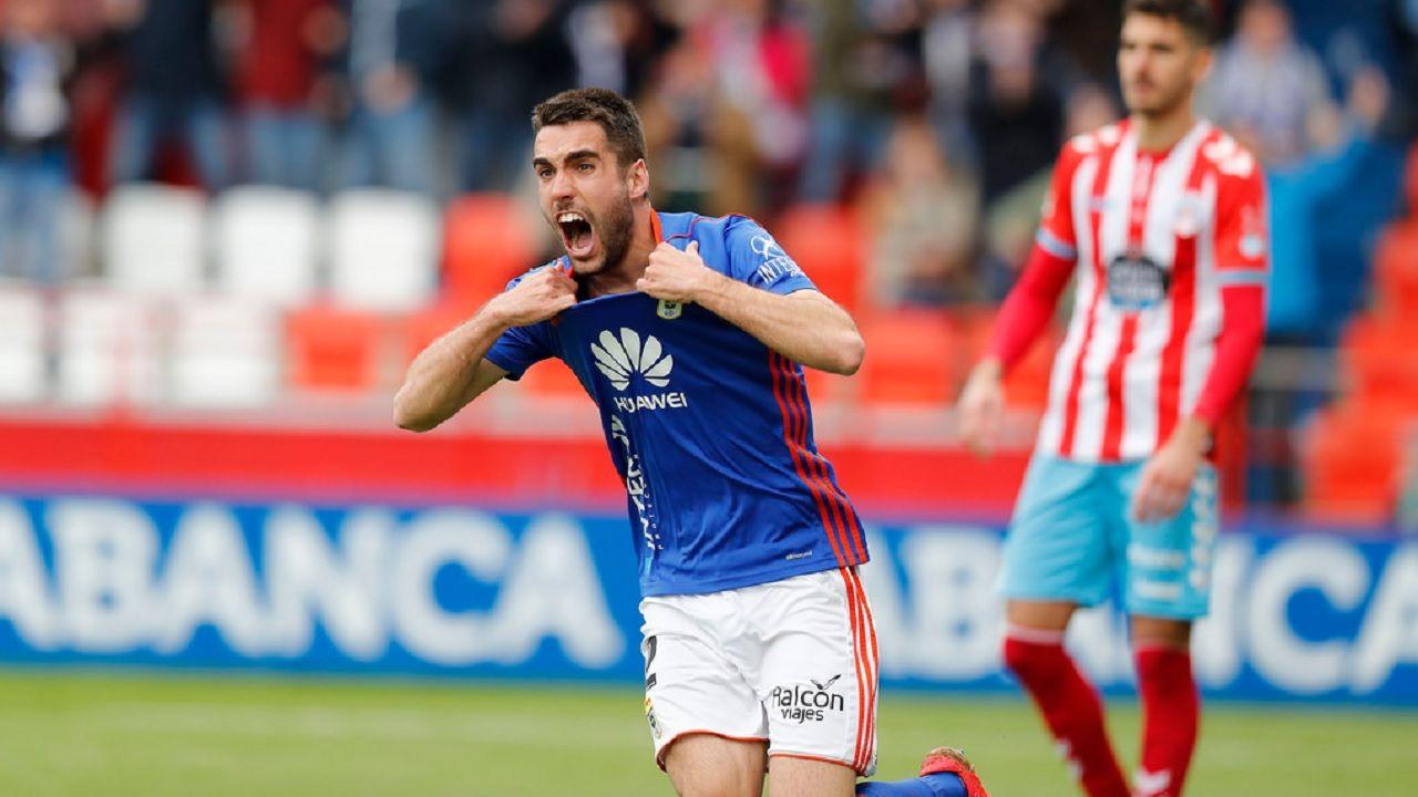 Johannesson celebra su gol frente al Lugo