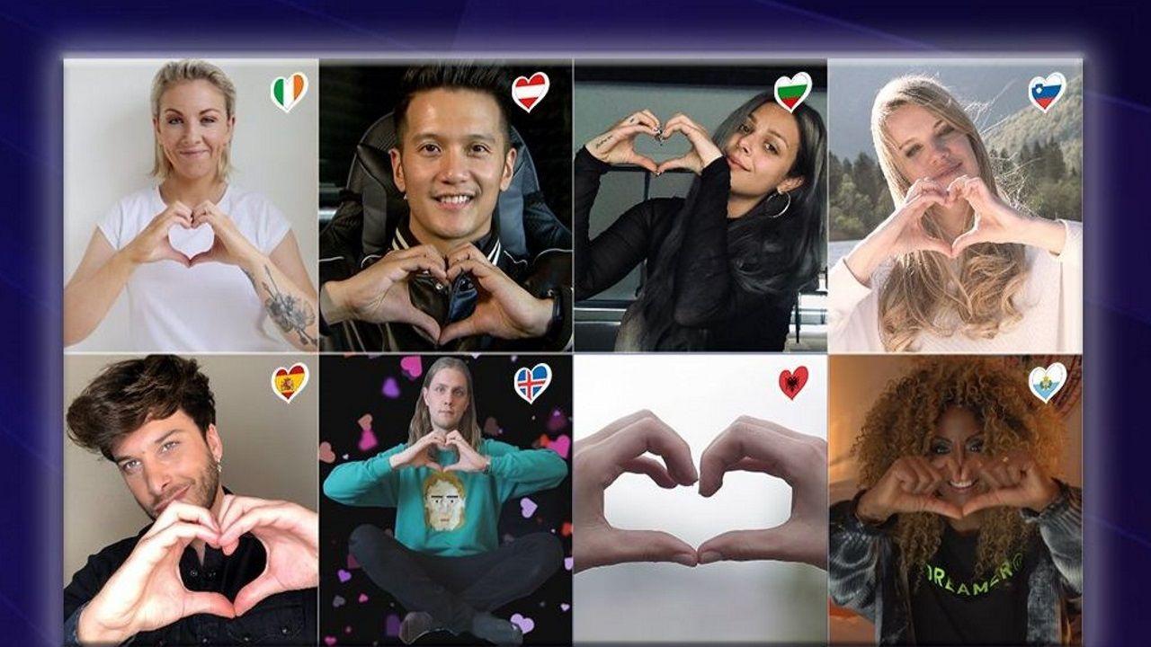 Blas Cantó, con otros artistas que cantaron juntos «Love Shine A Light» en el especial «online» de ayer