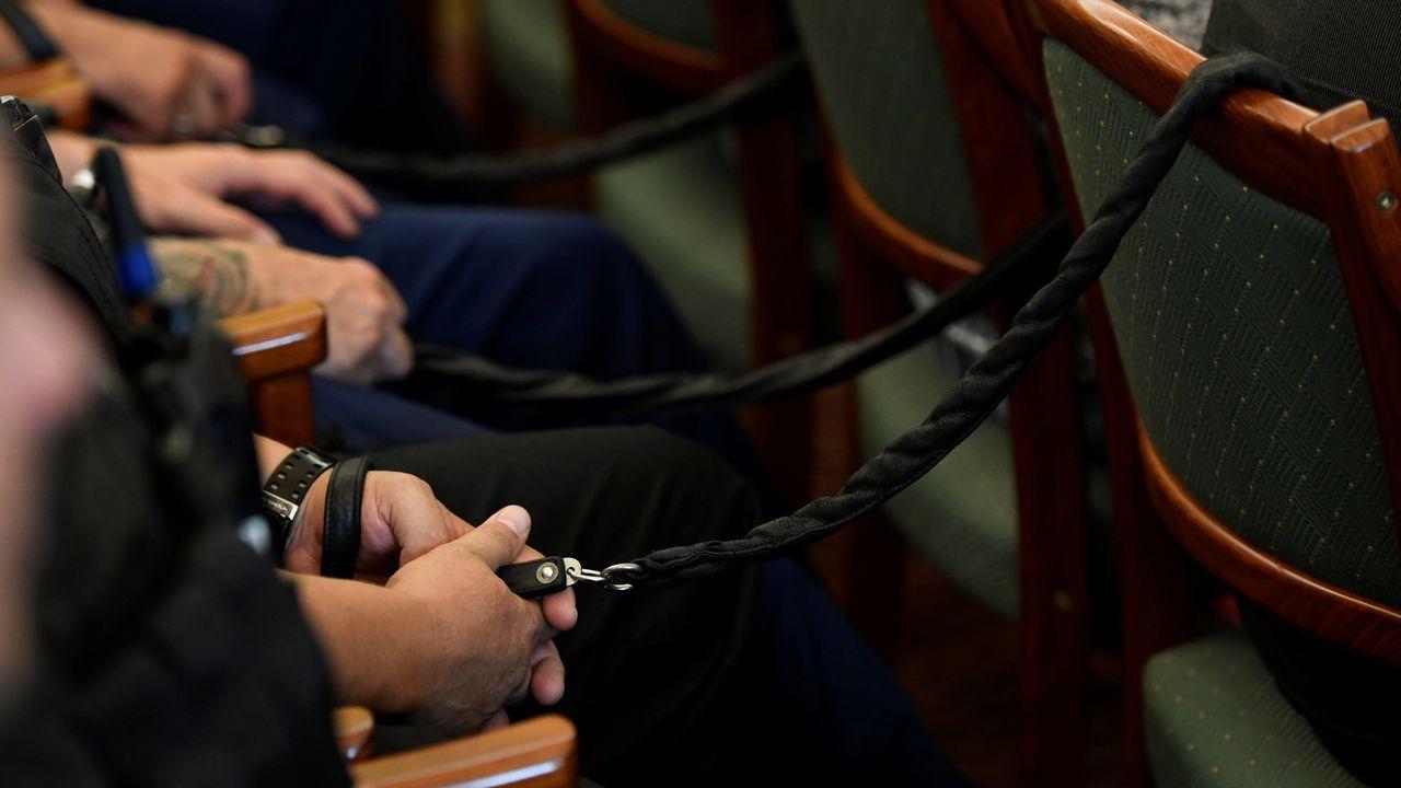 Dron velutinas .Los cuatro acusados escuchan la sentencia en el Tribunal de Szeged, en el sur de Hungría