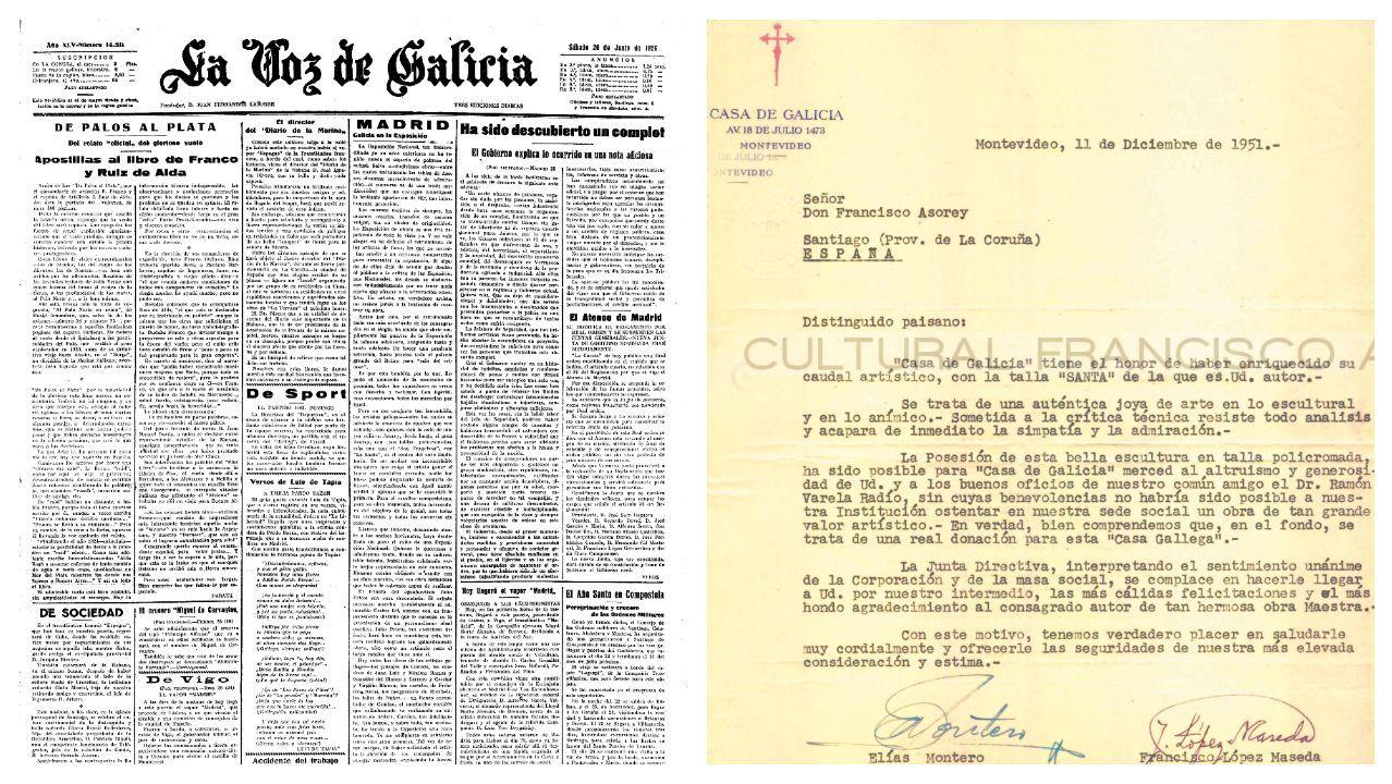 La página de La Voz con la reseña de la exposición de Madrid y la carta de agradecimiento de la Casa de Galicia de Montevideo