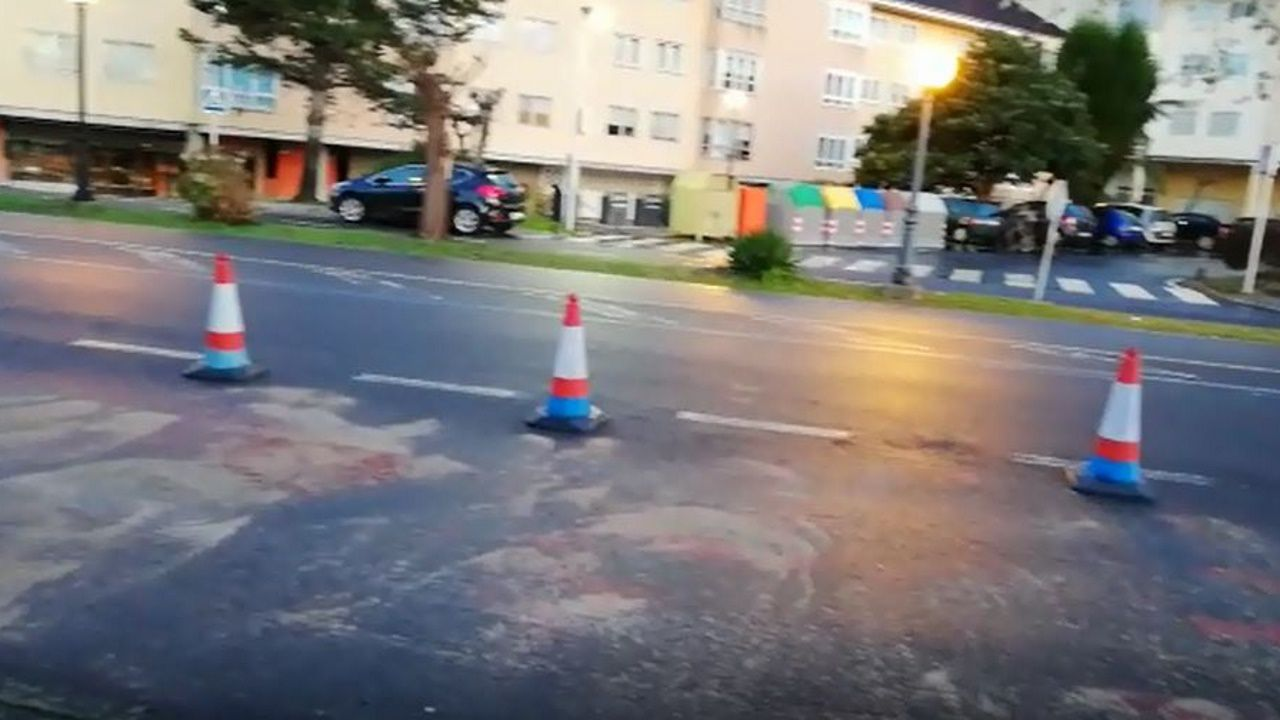 Lugar en el que se registró la colisión frontal.Corazón financiero de A Coruña