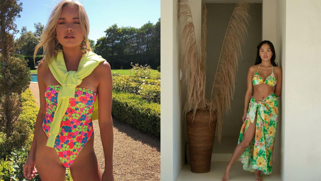 Bañador floral de Frankies Bikinies y bikini con pareo a juego de With Jean