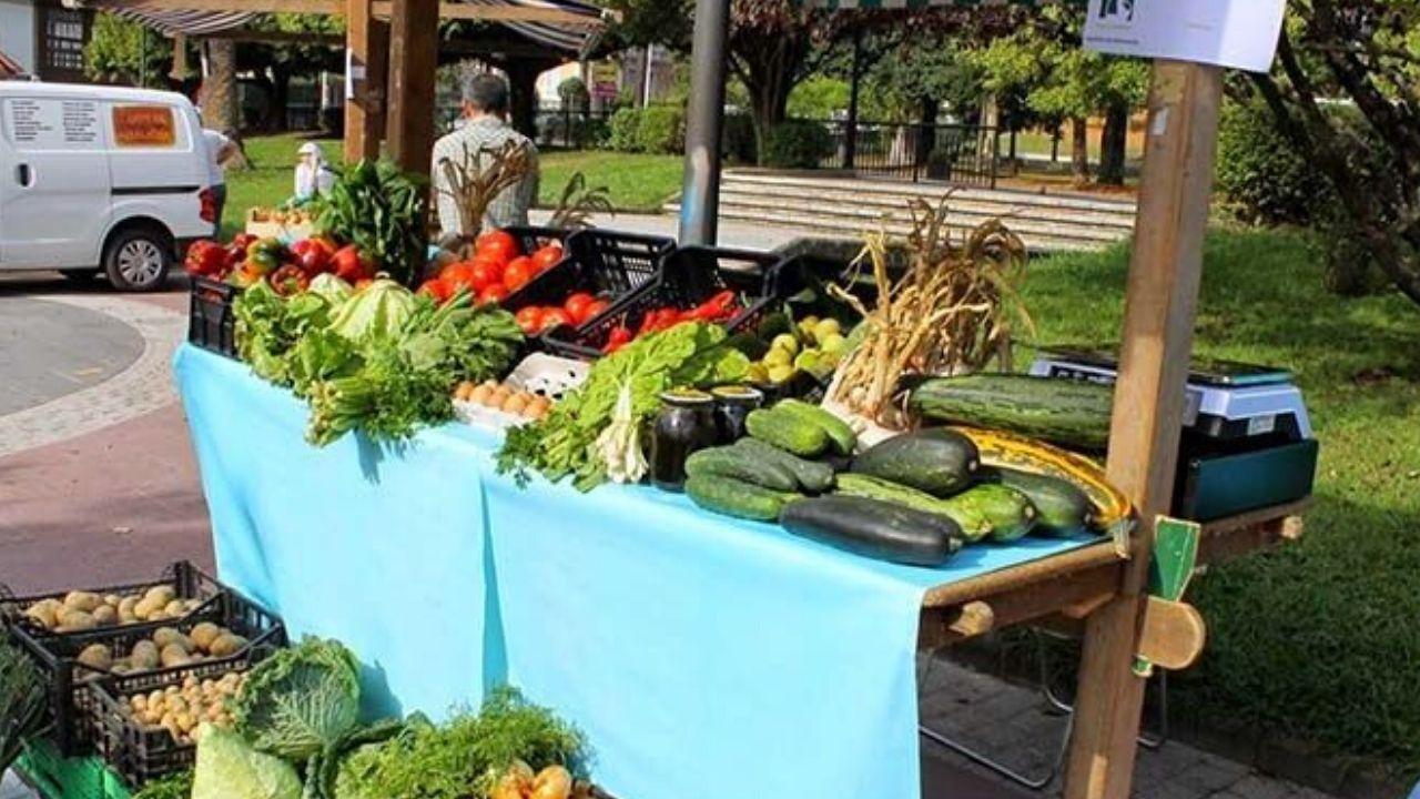 Un puesto de verduras en un mercado de Asturias