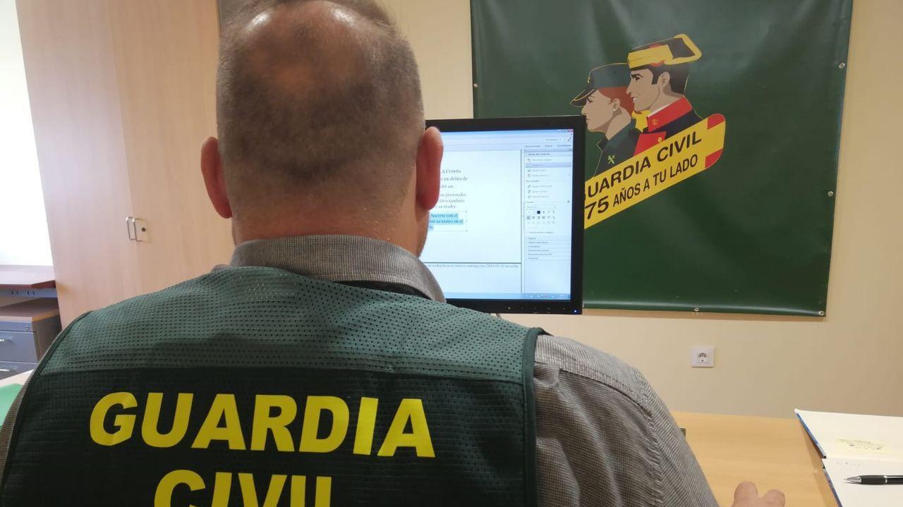 Un investigador de la Guardia Civil examinando una página web