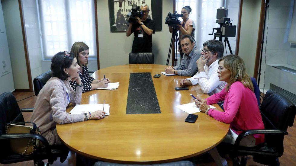 Dolores Carcedo, Gimena Llamedo, Ángela Vallina, Ovidio Zapico, Alberto Tirador.Los representantes de IU Ángela Vallina (d) , Ovidio Zapico (3d) y Alberto Tirador (2d) y una delegación de la FSA-PSOE encabezada por su secretaria de Organización, Gimena Llamedo (2i), y por la portavoz parlamentaria, Dolores Carcedo (i), al inicio de la reunión que mantuvieron hoy