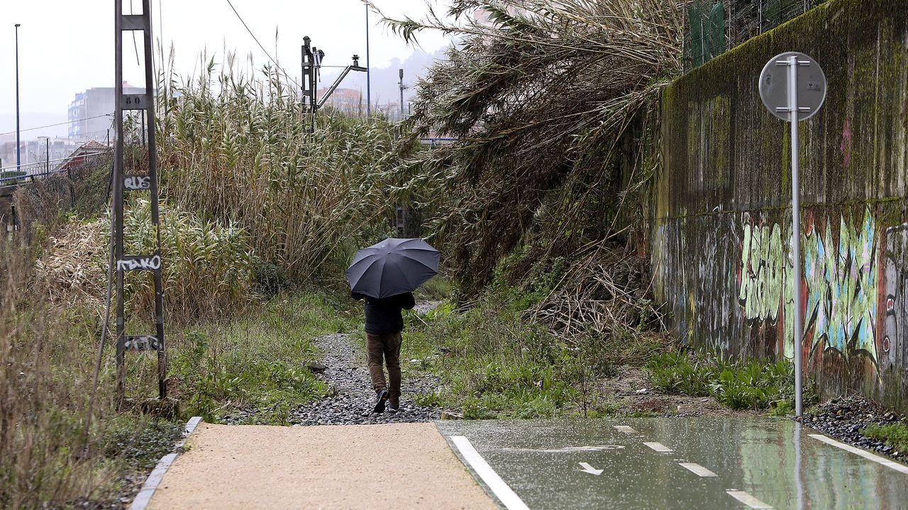 Así está la senda verde de Vigo.Un joven pereció atropellado en Pontevedra el sábado, junto al puente de A Barca