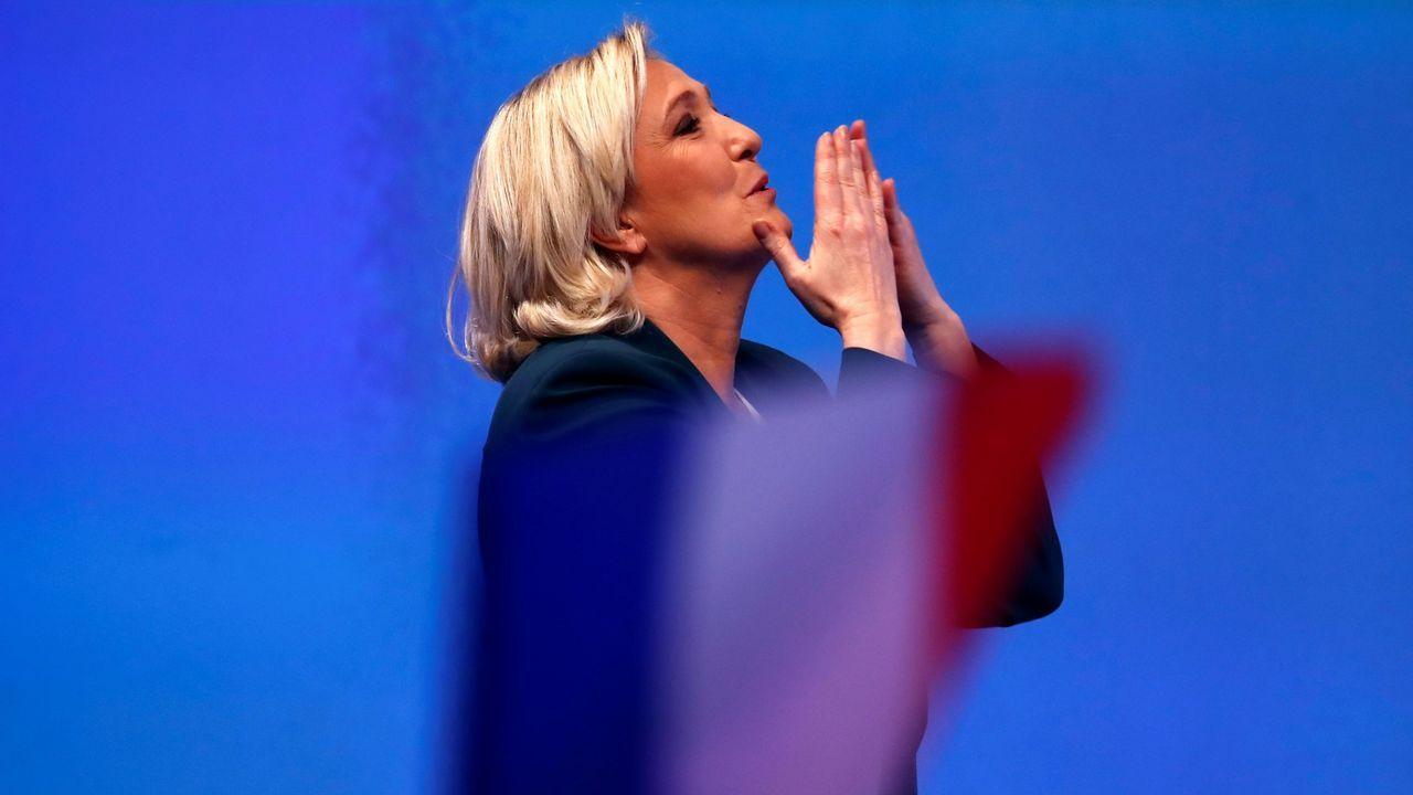 Marine Le Pain, líder del Frente Nacional, durante la presentación de la campaña de su partido a las elecciones europeas