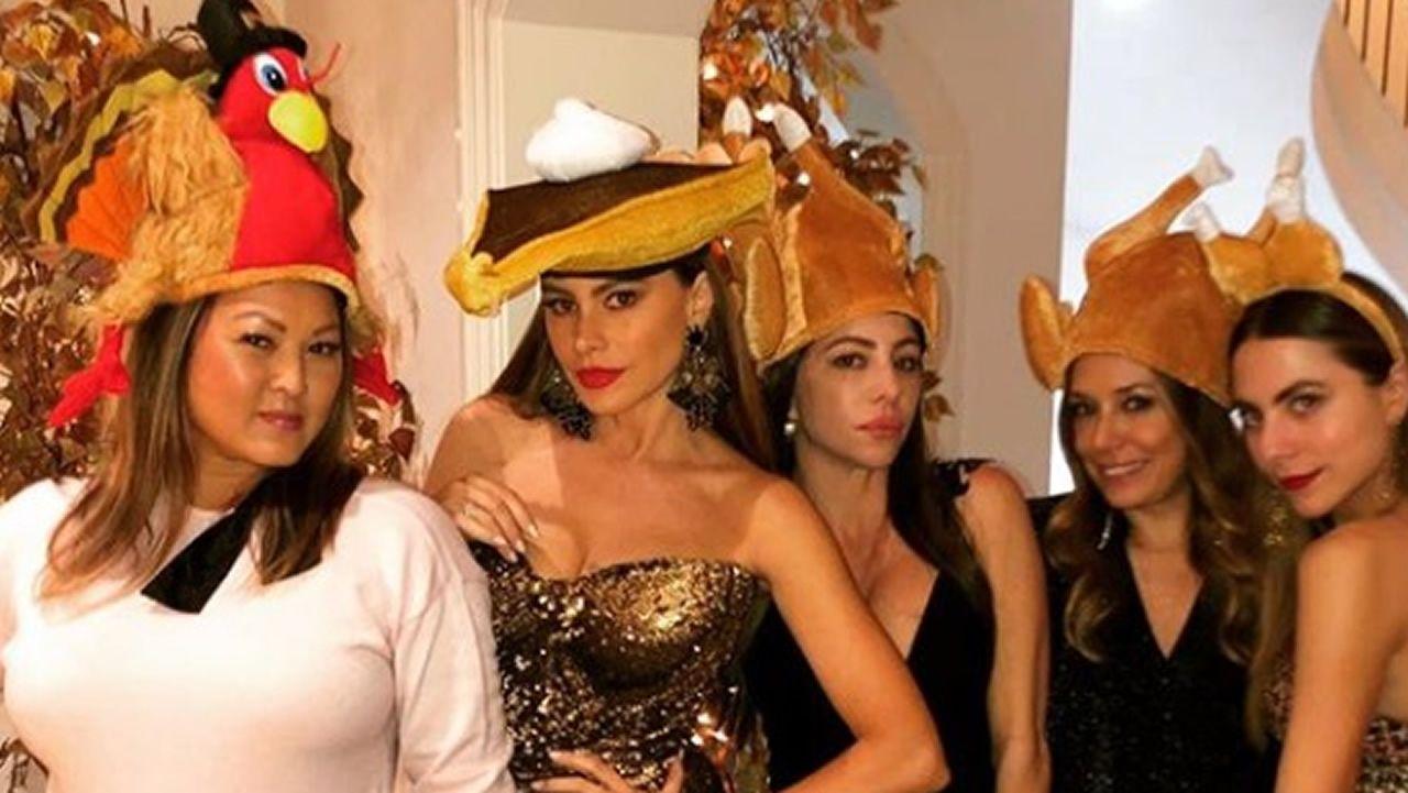A la actriz Sofía Vergara se le subió el pavo a la cabeza en Acción de Gracias