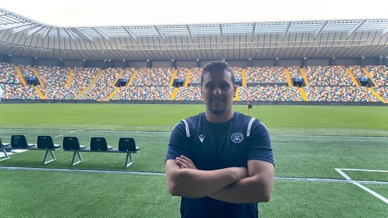 Diego Suárez en el estadio Friuli, Dacia Arena, hogar del Udinese Calcio de la Serie A
