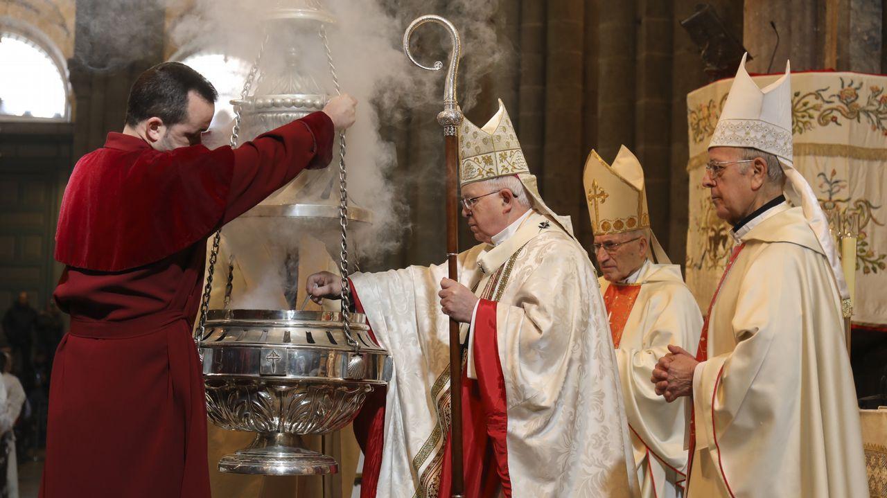 «Acto de desagravio» en la Catedral de Santiago.Noriega, con Julián Barrio en la alcaldía al inicio de su mandato