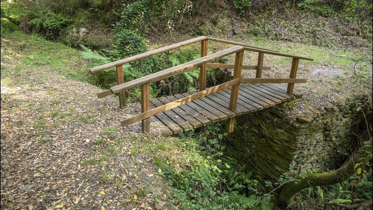 Puente de madera en el río Lousedo