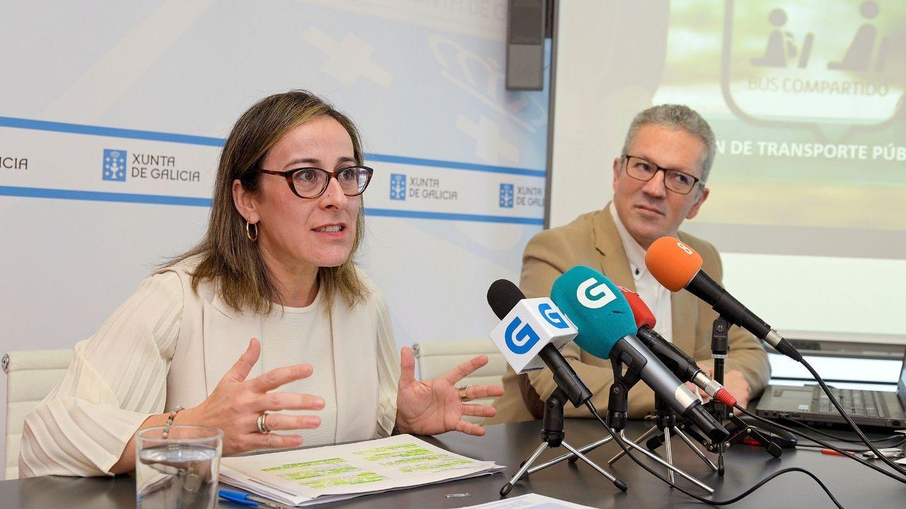 La conselleira Ethel Vázquez, este viernes en A Coruña, presentando el plan de transporte público de Galicia
