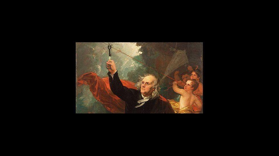«Benjamin Franklin Drawing Electricity from the Sky» (1816). Recreación del experimento de la cometa por el pintor estadounidense Benjamin West. Philadelphia Museum of Art