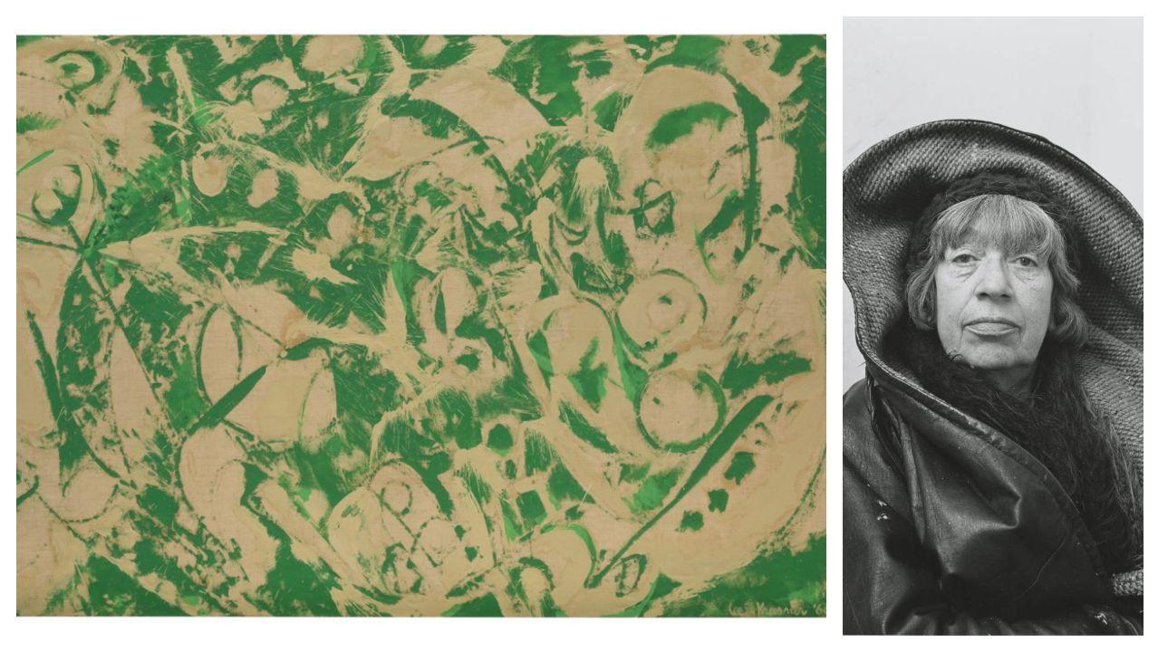 Detalle de «Sirena», óleo sobre lienzo elaborado por Lee Krasner en 1966. A la derecha, retrato de la artista de Brooklyn realizado por el fotógrafo Irving Penn en Nueva York, en 1972