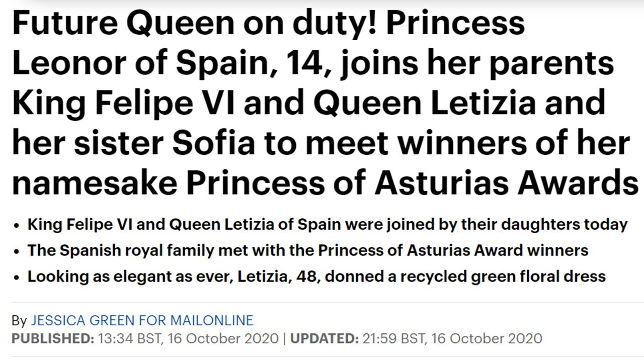 ¡Futura Reina de turno! La princesa Leonor de España, de 14 años, se une a sus padres el rey Felipe VI y la reina Letizia y su hermana Sofía para conocer a los ganadores de los premios Princesa de Asturias que lleva su nombre.