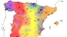 Mapa genético de España. Galicia, en azul, presenta el mayor aislamiento genético entre poblaciones.