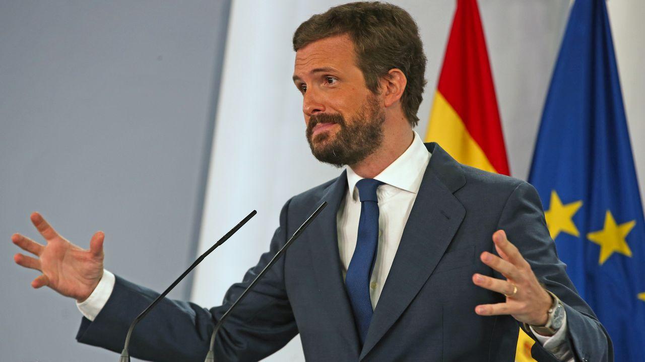 Pablo Casado, ayer en rueda de prensa tras su encuentro en la Moncloa con Pedro Sánchez