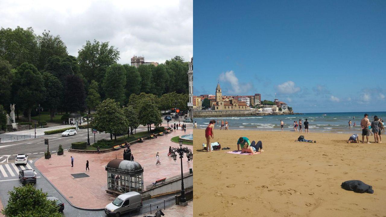 Las dos caras del tiempo en Oviedo y Gijón