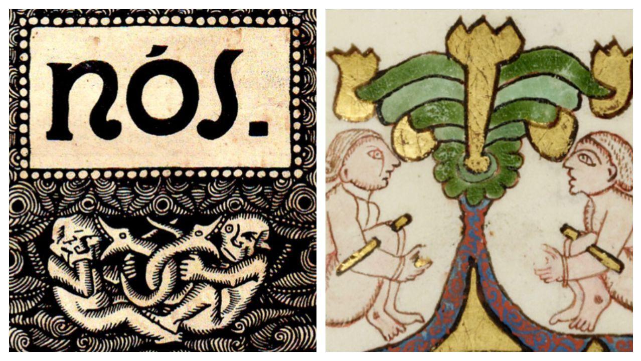 Así es el paso de la borrasca Brendan por Compostela.Composición con una de las ilustraciones de la revista «Nós» y otra de la Biblia Kennicott
