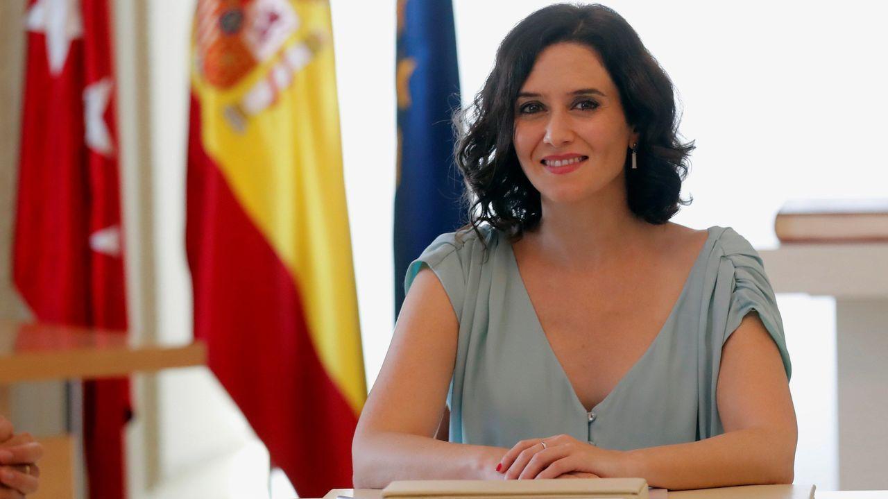 Isabel Diaz Ayuso durante la primera reunión con su Gabinete