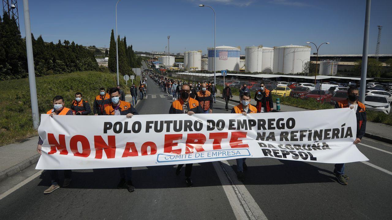 palavea.Manifestación este viernes en A Coruña contra el ERTE en la refinería