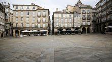 Ambiente en la praza Maior de Ourense con las nuevas restricciones