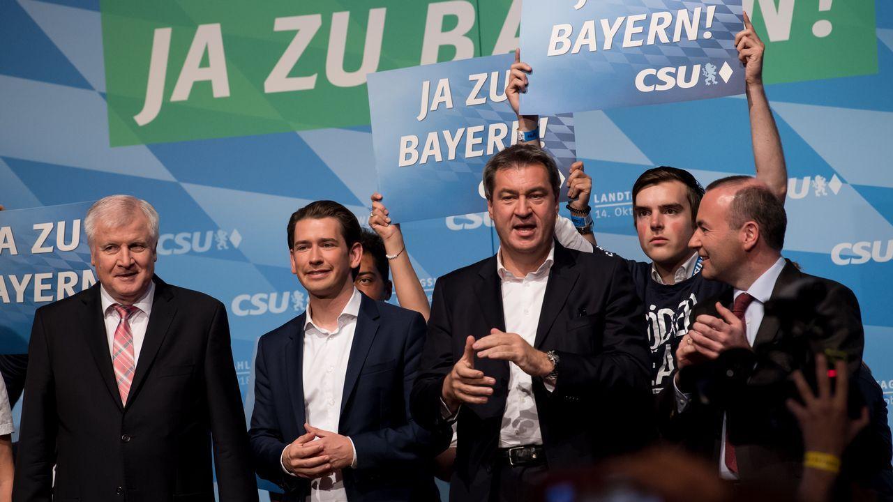 El canciller austríaco, Sebastian Kurz, intentó animar con su presencia la campaña de la CSU