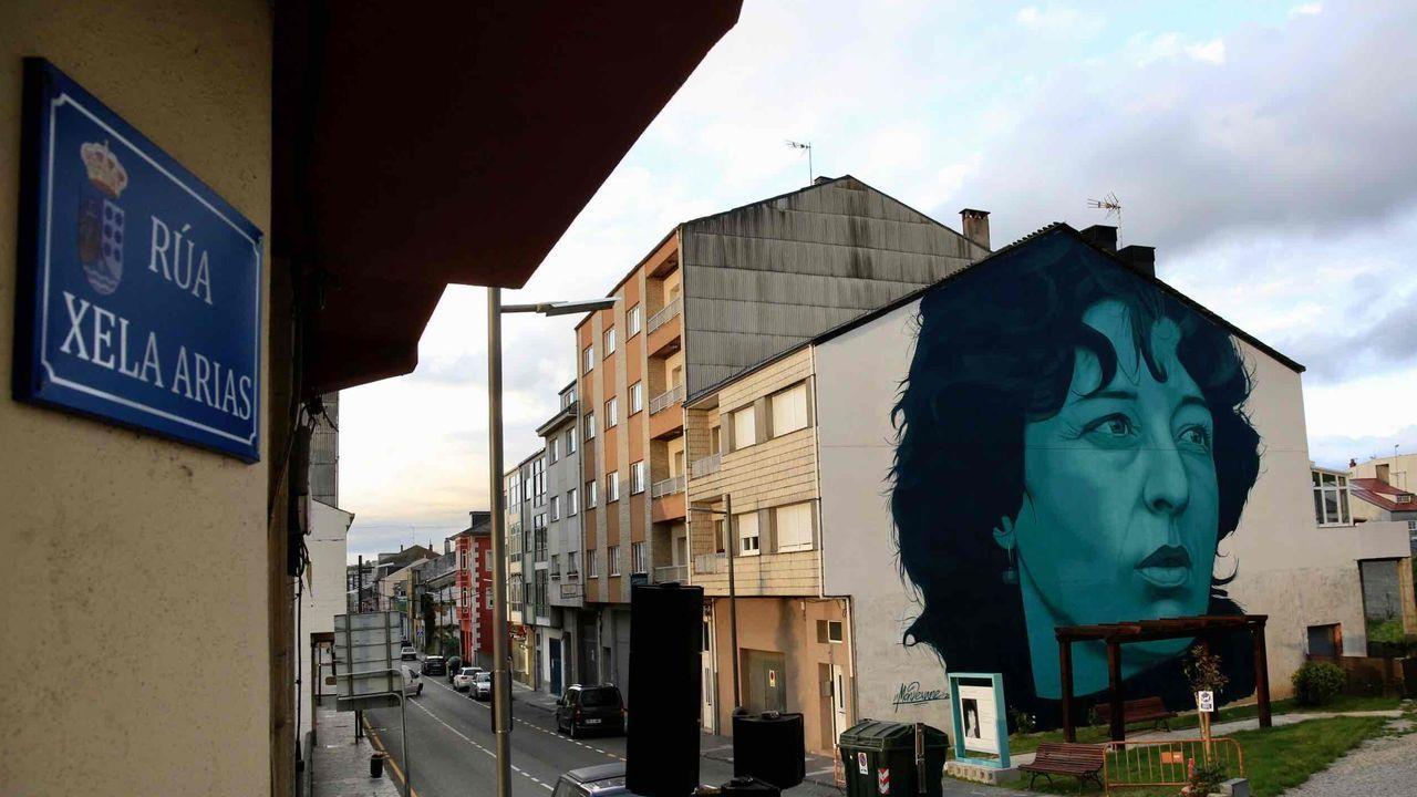 Las imágenes del deterioro del polígono industrial de Sarria.El cartel de Xela Arias junto al mural de la escritora elaborado por Mon Devane en su calle