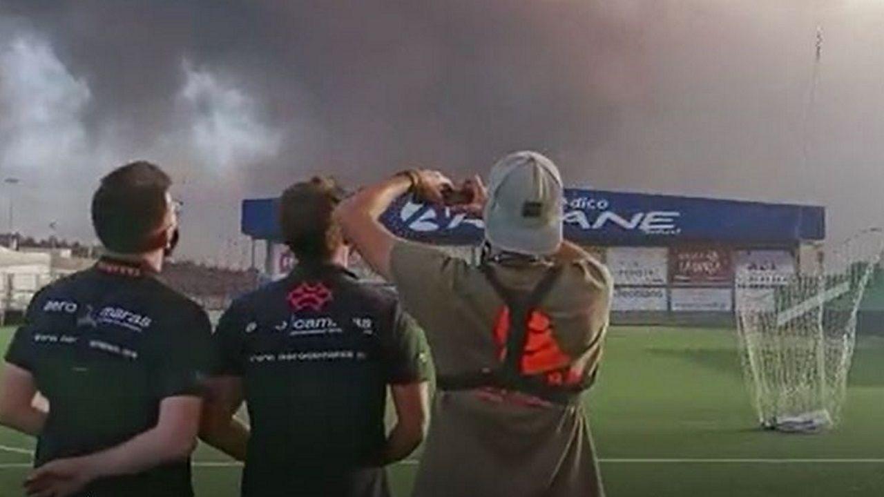 Los técnicos de Aerocamaras ensayan el rescate de los cuatro perros cercados los la lava
