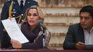 Jeanine Yáñez, durante la rueda de prensa en la que convocó las elecciones