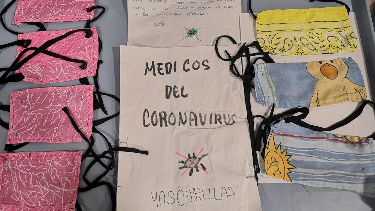 Incendio en Celeiro, Viveiro.Mascarillas hechas a mano por una niña de 11 años para los sanitarios de Urgencias del HUCA