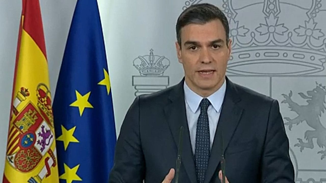 Pedro Sánchez explica la petición que hará al Congreso para prolongar el estado de alarma.Torra, durante una comparecencia telemática en su despacho
