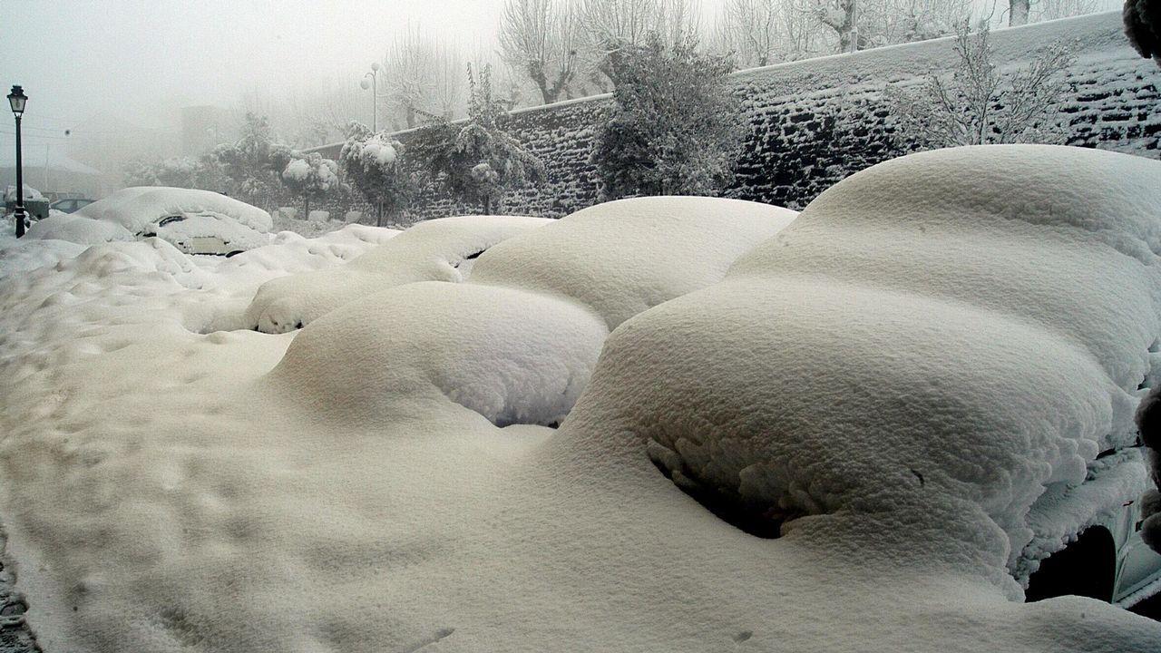Así se vive el invierno en un hotel a 1.800 metros de altitud.Ganado en montes lucenses, en febrero del 2001